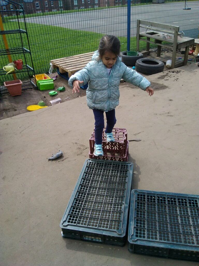 Balancing, obstacle course, new skills, crates, taking risks, challenging  own ability, outdoor play, natural environment, awe and wonder