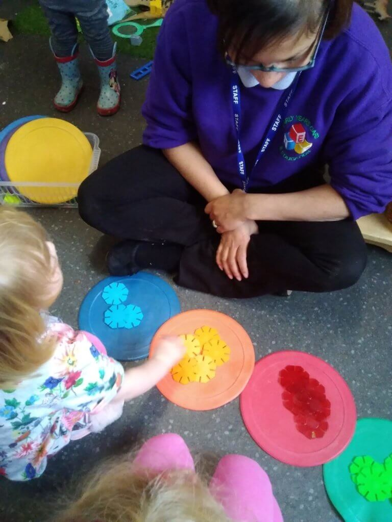 Colour matching, maths, sorting, counting, numbers, environment, small groups, adult led activity, engagement, learning, new skills